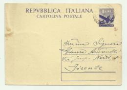 CARTOLINA POSTALE CON  FRANCOBOLLO  DA LIRE 8 STAMPATO  1948 - 1946-.. République