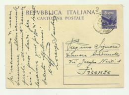 CARTOLINA POSTALE CON  FRANCOBOLLO  DA LIRE 8 STAMPATO  1948 - 6. 1946-.. Republik