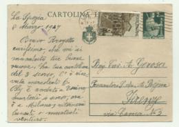 CARTOLINA FRANCOBOLLO LIRE 2 + 1 LIRA1947 - 6. 1946-.. Repubblica