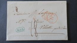 """Belgique Lettre De Huy 1847 Cachet Encadré Bleu  """"B.4.R"""" Entrée Par Valenciennes  Pour Paris  Taxe 18 - 1830-1849 (Independent Belgium)"""