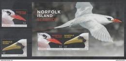 NORFOLK ISLAND, 2016, MNH, BIRDS, SEABIRDS, 2v+S/SHEET - Birds