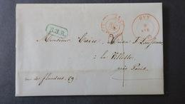 """Belgique Lettre De Huy 1847 Pour Paris Taxe 7 Cachet Encadré Vert """"B.3.R"""" Entrée Valenciennes En Rouge - 1830-1849 (Independent Belgium)"""