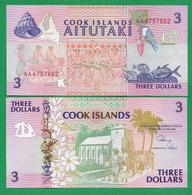 COOK - ISLANDS - 3 DOLLARS - 1992 - UNC - Cookeilanden