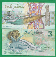 COOK ISLANDS - 3 DOLLARS - 1992 – UNC -  COMMEMORATIVE - Cook