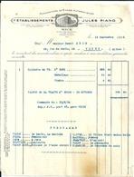 Facture 13 Septembre 1924 Etablissements Jules PIANO Manufacture De Pianos Automatiques Nice 54 Rue Beaumont - France