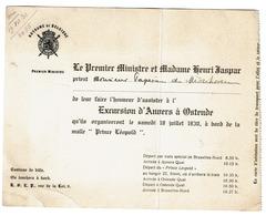 Invitation Du Premier Ministre Henri Jaspar à M. Papeians De Morchoven 1930 Excursion Anvers à Ostende - Prince Leopold - Documents Historiques