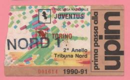 Biglietto D'ingresso Stadio Juventus Torino 1990/91 - Tickets D'entrée