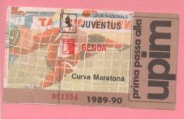 Biglietto D'ingresso Stadio Torino Juventus Genoa 1989/90 - Tickets - Vouchers