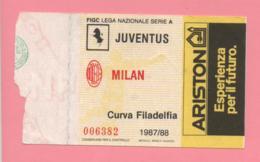 Biglietto D'ingresso Stadio Juventus Milan 1987/88 - Biglietti D'ingresso