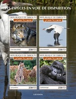 Djibouti. 2019 Endangered Species. (0404a)  OFFICIAL ISSUE - Gorillas
