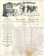 Lettre  Publicitaire 1920 Raoul BRUN Vichy Pianos Automatiques Pianos Electriques Orchestrions Phonographes Et Disques - France