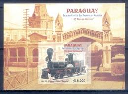 J125- Paraguay 2004 150th Anniversary Of Paraguayan Railroad Trains Transport. - Paraguay