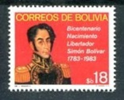 BOLIVIA - BICENTENARIO NACIMIENTO LIBERTADOR SIMON BOLIVAR 1783-1983. ANNEE 1982. YVERT N° 620. MNH - LILHU - Celebridades