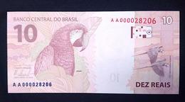 BRAZIL Banknote 2nd Real Family Series Cédula R$ 10 Reais AA 8206 Mantega And Tombini UNC Arara Macaw Bird - Brasilien