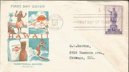 J) 1937 UNITED STATES, HAWAII, TERRITORIAL SERIES, FDC - United States