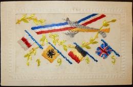 FANTAISIE CPA BRODÉE SOIE MILITARIA WW1 AVION AÉROPLANE COMPIÈGNE - Holidays & Celebrations