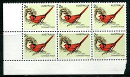 Australia 1978 Birds - 1st Issue - 2c Crimson Finch Block MNH (SG 670) - Mint Stamps