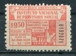 ARGENTINA - INSTITUTO NACIONAL DE PREVISIÓN SOCIAL / PREVOYANCE SOCIALE. FISCAL, TIMBRES FISCAUX, TAX STAMPS. - LILHU - Affrancature Meccaniche/Frama