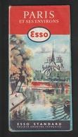 Carte De PARIS & ENVIRONS - Année 1959 - ESSO  Service à BIEVRES  78 . RN 306 - Pliures En Accordéon - Voir 12 Photos - Cartes Routières