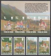 Tristan Da Cunha 1984 Mi# 373-76+ Bl.16** SHEEP SHEARING - Tristan Da Cunha