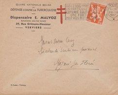 ENVELOPPE TIMBRE 1945 VERVIERS VOIR TIMBRE ET CACHETS - Storia Postale