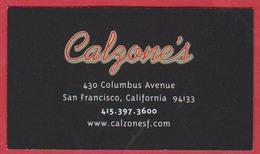 Calzone's Pizzeria. San Francisco. Californie. Etats Unis. 2019. - Cartoncini Da Visita