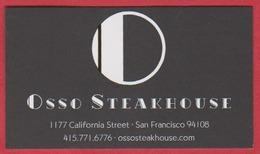Osso Steakhouse. Restaurant. San Francisco. Californie. Etats Unis. 2019. - Cartoncini Da Visita