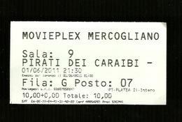 Biglietto Di Ingresso Cinema - Film Pirati Dei Caraibi  - Movieplex Di Mercogliano - Avellino - Merchandising