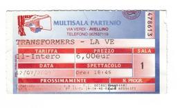 Biglietto Di Ingresso Cinema - Film Transformers  - Multisala Partenio Avellino - Non Classificati