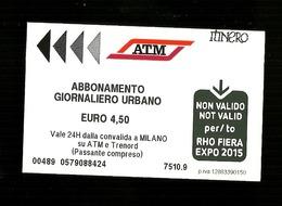 Biglietto Autobus Italia - ATM Milano - Abbonamento Gionaliero - Autobus