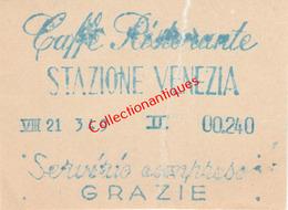 Souche D'achat Venise Stazione Venezia Café Ristorante Années 60 - Invoices