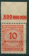 Deutsches Reich 1923 Korbdeckel Platten-Oberrand 318 AP OR C Postfrisch - Deutschland