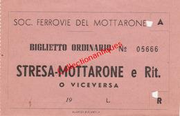 Ticket De Chemin De Fer Société Ferroviaire De Mottarone De Stresa à Mottarone Années 60 - Italie - Europe
