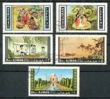 AJMAN - THE TADJ-MAHAL, ASIAN ART / ART ASIATIQUE. MICHEL 176 / 180, ANNEE 1967 OBLITERES COMPLETE SERIE AIRMAIL - LILHU - Arquitectura