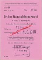 Abonnement Général De 3ème Classe Transports Bernois - Suisse Du 14 Août Au 21 Août 1948 En Allemand - Abbonamenti