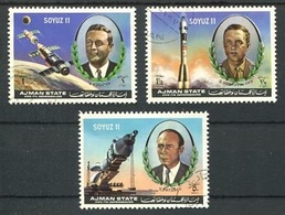 AJMAN - SOYUZ 11. MICHEL 1264 / 1266, ANNEE 1971 OBLITERES COMPLETE SERIE. SPACE ESPACIO ESPACE- LILHU - Ajman