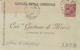 Tursi. 1899. Annullo Grande Cerchio TURSI (POTENZA), Su Cartolina Postale Commerciale - Marcofilie