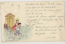 """288- Baigneuse """" Humour"""" """"1899"""" - Autres Illustrateurs"""