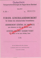 Abonnement Général De Vacances 2ème Classe Transports Bernois - Suisse Du 6 Août Au 13 Août 1958 En Allemand - Europe