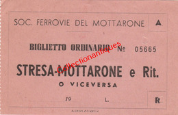 Ticket 2 De Chemin De Fer Société Ferroviaire De Mottarone De Stresa à Mottarone Années 60 - Italie - Europa