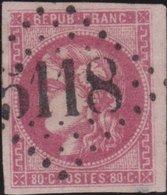 France   .    Yvert  .    49   (2 Scans)  Tres, Tres Petit Endroit Aminci A Droite En Bas    .     O     .    Oblitéré - 1870 Bordeaux Printing
