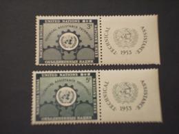 O.N.U. USA - 1953 ASSISTENA 2 VALORI, CON BANDELLA - NUOVI(++) - New York - Sede De La Organización De Las NU