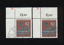 BRD 1968, 2 X Michel-Nr. 546, 150 Jahre Druckmaschinen, Eckrand Links Oben, Zähnungsvarianten - [7] República Federal