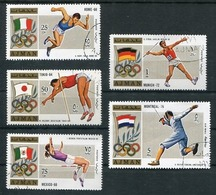 AJMAN - JEUX OLYMPIQUES, OLYMPIC GAMES. SPORTS AND ATHLETES. MICHEL 1310 / 1314 OBLITERES COMPLETE SERIE -LILHU - Salto