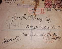 O) 1894 GERMANY, PFENNIGE -REIGHSPOST, EINSCHREIBEN - CERTIFICATE, TO LONDON - Germany