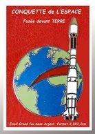 SUPER PIN'S CONQUETTE DE L'ESPACE : FUSEE En Direction De La LUNE, Visuel De LA TERRE, émail Grand Feu Base ARGENT 2,2X3 - Espace