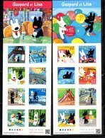 JAPAN, 2019, MNH,CHILDREN'S BOOK, GASPARD ET LISA, EIFFEL TOWER, BOATS, 2 SHEETLETS - Fairy Tales, Popular Stories & Legends