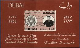 Dubai 1963, Kennedy Memorial Block Issue Imperforated MNH - Tegen De Honger