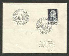"ROUEN "" CONGRES NATIONAL S.C.A.M.R.U. - 5 Déc. 1947 "" / Timbre Alfred Fournier - Marcofilia (sobres)"