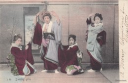 Japan Unknown Location, Women Dance In Front Of Screen, Traditional Fashion, C1900s Vintage Postcard - Dance